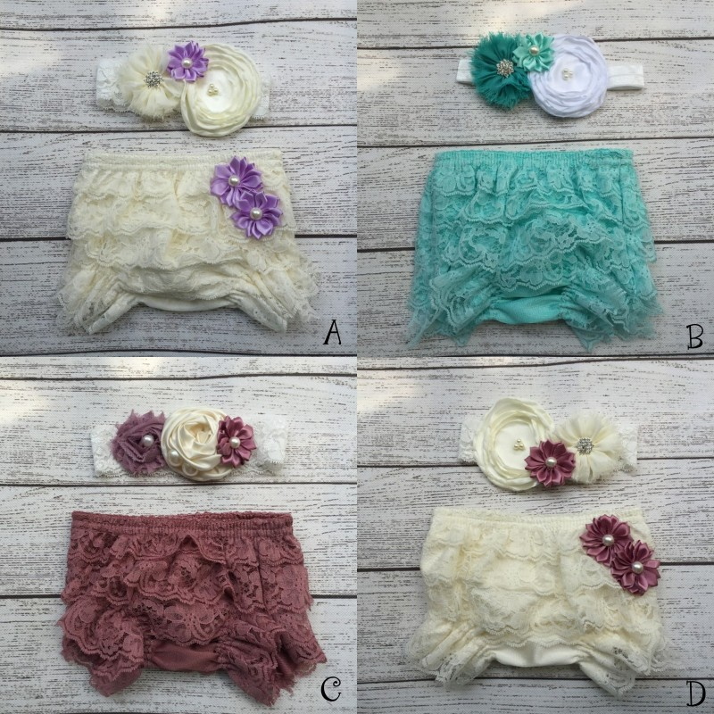 Baby Lace Ruffle Shorts Matching Baby Headband   Baby Girl  Diaper Covers  Baby Ruffle Bloomer