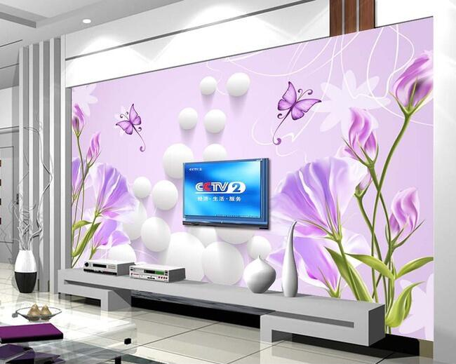 3d wallpaper custom mural non-woven Wall stickers 3 d sphere lilies butterfly background painting photo 3d wall mural wallpaper(China (Mainland))