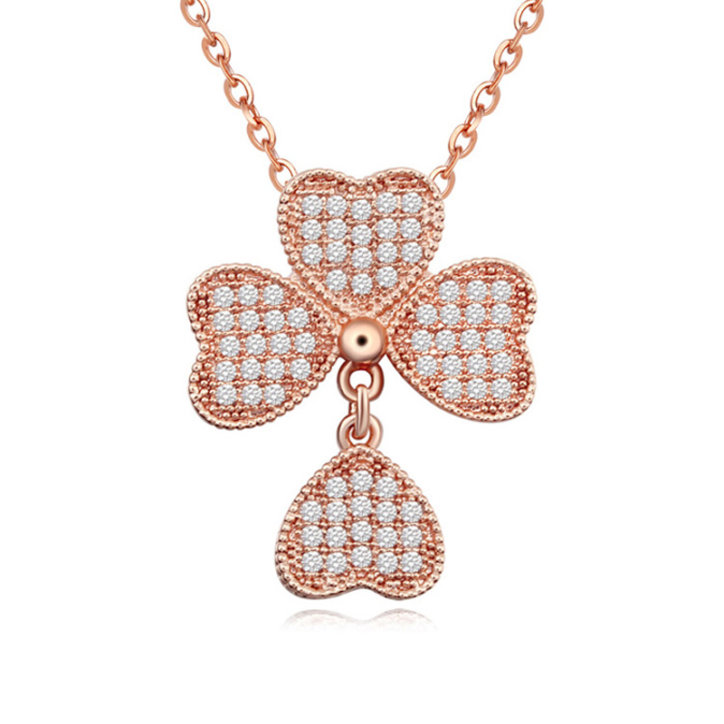New arrival micro paved luxury jewelry wholesale clover collar necklace with AAA zirconia for Valentine'S Day(China (Mainland))