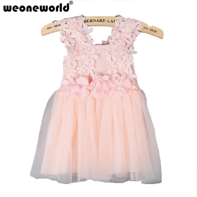 WEONEWORLD Girls Dresses Summer 2017 evening Girl easter dress Lace Princess Baby Dresses Kids Flower Sleeveless Children Party(China (Mainland))