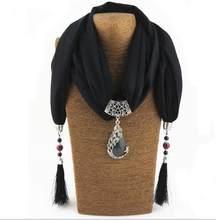 KMVEXO Cổ Điển Khăn Necklace Đá Tự Nhiên Peacock Pendant đối với Phụ Nữ Fringe Tassel Necklaces 2018 New Statement Jewelry Bijoux(China)