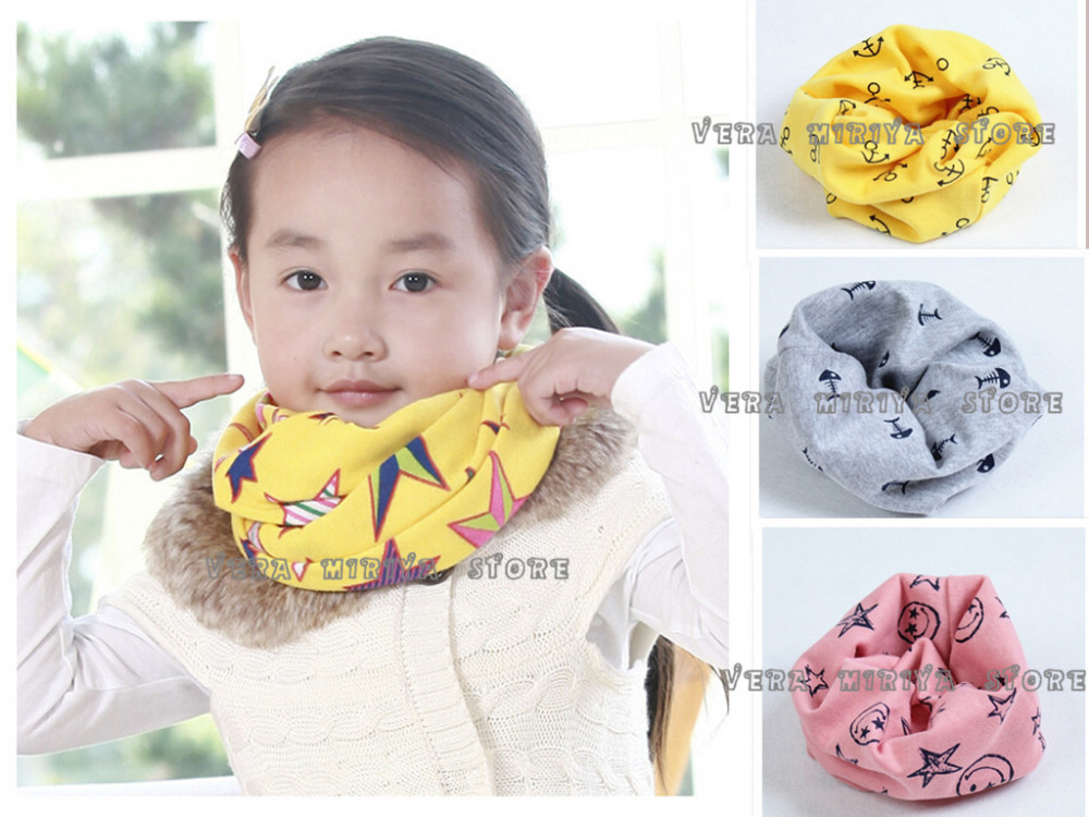 hot sale cotton baby scarf ring kids neckerchief round collar children boy girl scarf fishbone starfish headband free ship(China (Mainland))