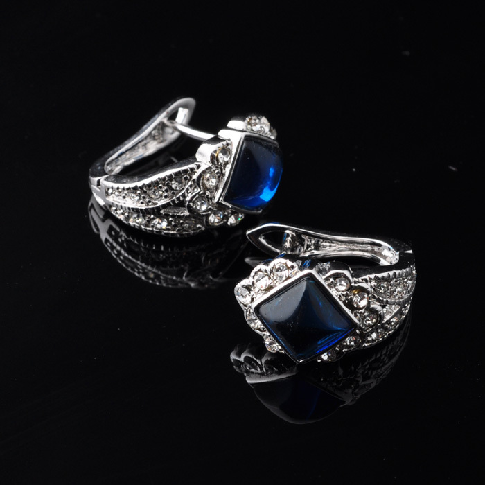 Unusual Blue Sapphire Topaz Silver Jewelry Earrings For Women Free Gift Bag P01613(China (Mainland))