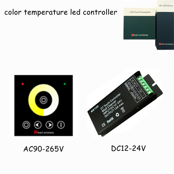 1pcs dc12v 24v wall mounted rf wireless touch screen panel 12a led color temperature strip dimming dimmer remote controller(China (Mainland))