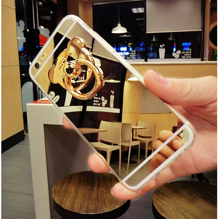 Luxury Soft TPU Mirror Back Covers for iphone 7 6 6s 5 5S SE Plus Cellular phone case With Bear Ring Holder Kickstand Shell(China (Mainland))