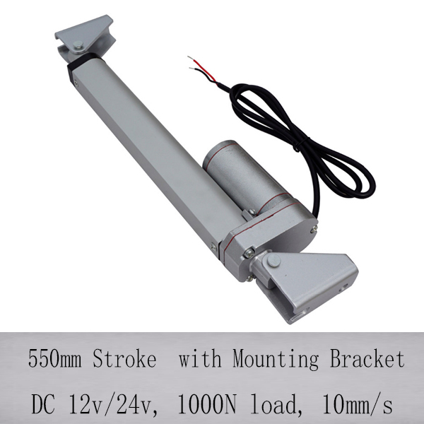 550mm stroke 1000N/100KGS load dc 12v electric waterproof hospital bed linear actuator with mounting brackets(China (Mainland))