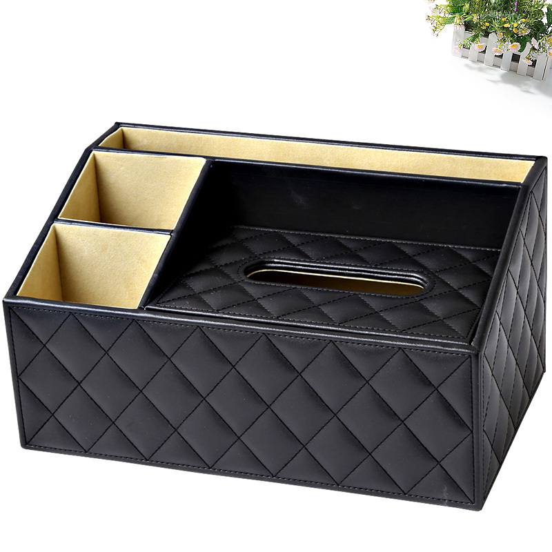 Ever Perfect Multi functional  3 Slots Desk Stationery Organizer Tissue Boxes Case Remote Controls Holder Container Box 1483