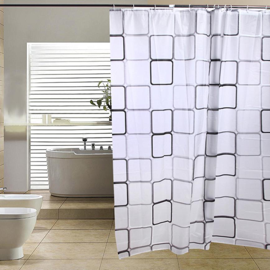 Stylish 180 180 Cm High Quality 12 Hooks Design Waterproof Bathroom Fabric Bath Shower Curtain