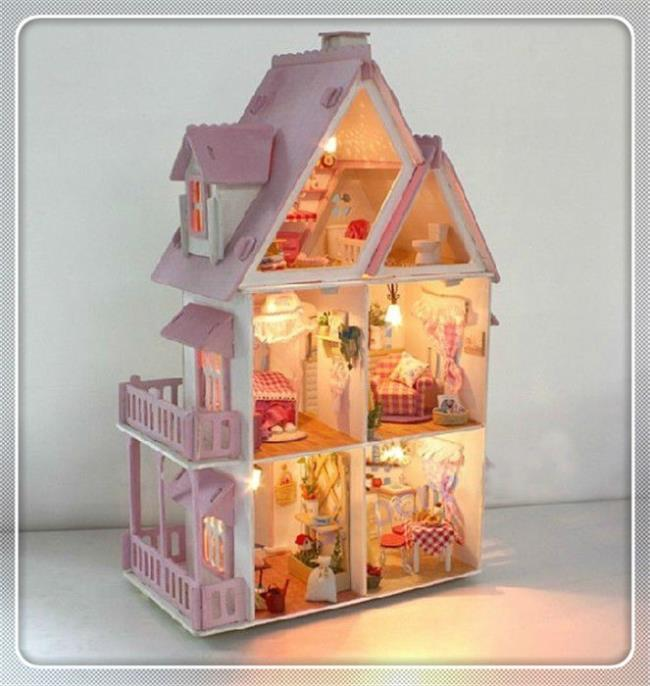 DIY Assembling Miniature Model Kit Wooden Doll House, Unique Big Size House Toy With Furnitures Gift Juguetes Children Gifts(China (Mainland))