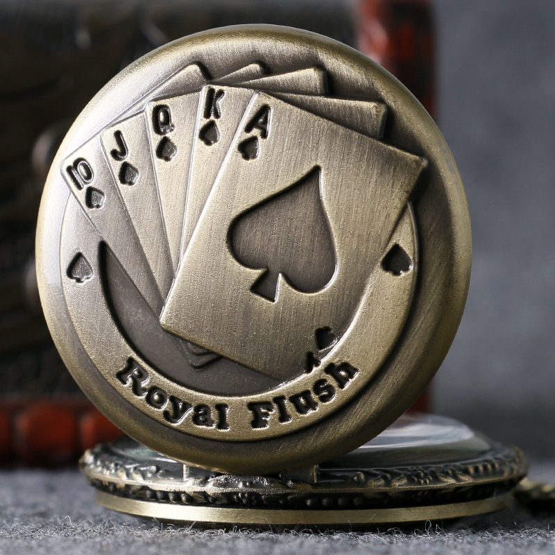 Antique Bronze Royal Flush Poker Cards Pocket Watch Necklace Chain Gift P80(China (Mainland))