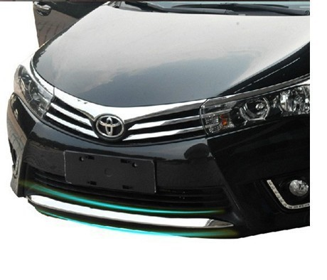 High quality stainless steel Front Grille Around Trim Front bumper Around Trim Racing Grills Trim For 2014 Toyota Corolla(China (Mainland))