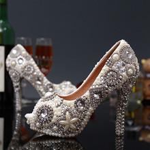 Plus Size 35-43 Sexy Crystal Peep Toe Wedding Shoes Rhinestone Woman Pumps Open Toe High Heels(China (Mainland))