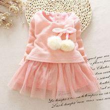 Newborn Baby Girls Dress Knit Tops Lace Bowknot Dresses Kids Autumn Spring Clothing 0-24M