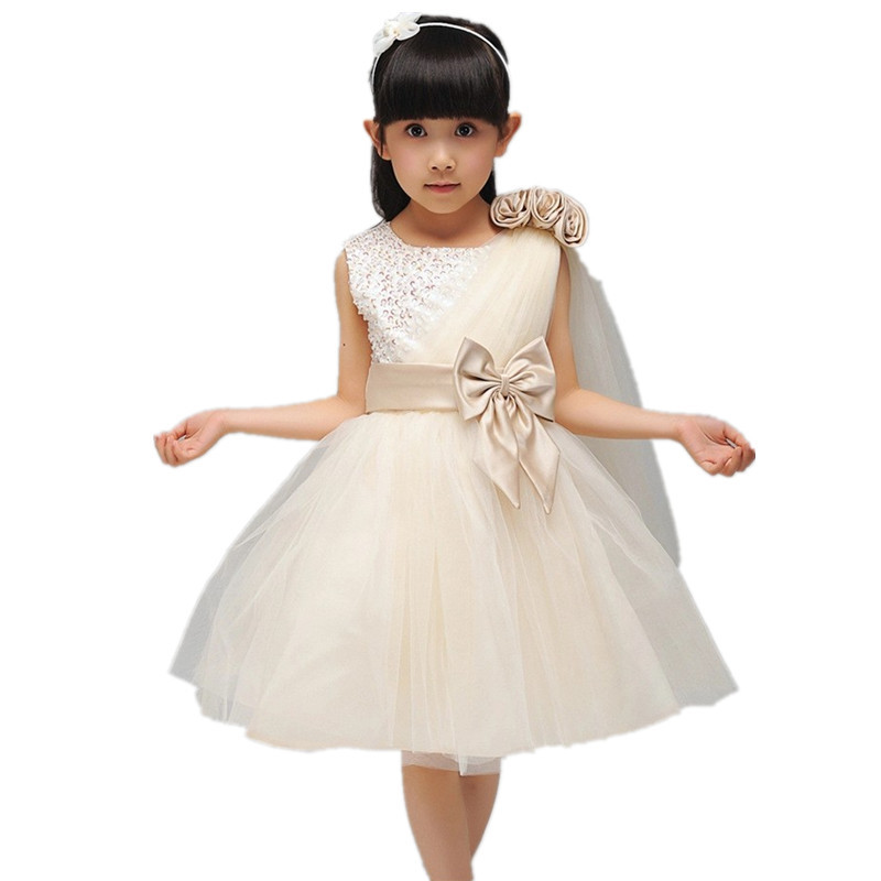High quality Flower girls 2015 summer style elegant beading princess party dress baby kid dress designer brand vestidos(China (Mainland))