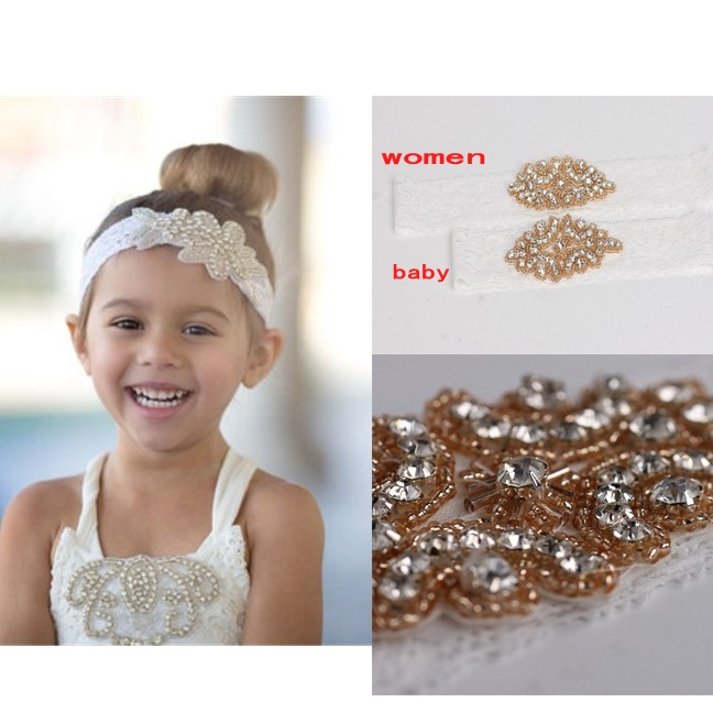 Retail baby rhinestone Lace headband with crystal headband party festival holiday headdress bridal headwear Hair Accessories(China (Mainland))
