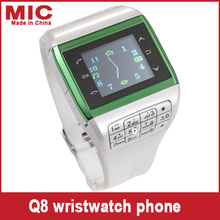 "2013 Watch Wrist Cell Phone Mobile AT&T Mobile quadband Dual SIM Card Bluetooth 1.5"" Touch Screen Watch mobile Phone Q8 P126(China (Mainland))"