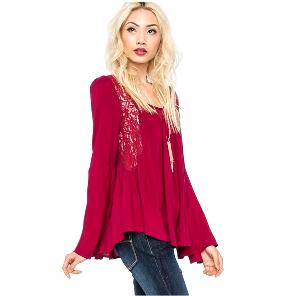 Lace women blouses tops red blouse 2015 women elegant for Ladies shirts and blouses