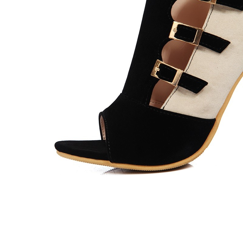 Mixed Colors Thin Heels zipper Pumps 2016 Fashion Party Sandals Nubuck Leather Gladiator Sexy Woman Fine heel Rome Shoes Size 43
