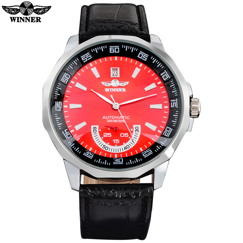 Wholesale AUTOMATIC Watch Mens Mechanical Diamond Red Dial  With Date 2 Second Hand 300M Black leather band GIFT BOX free ship<br><br>Aliexpress
