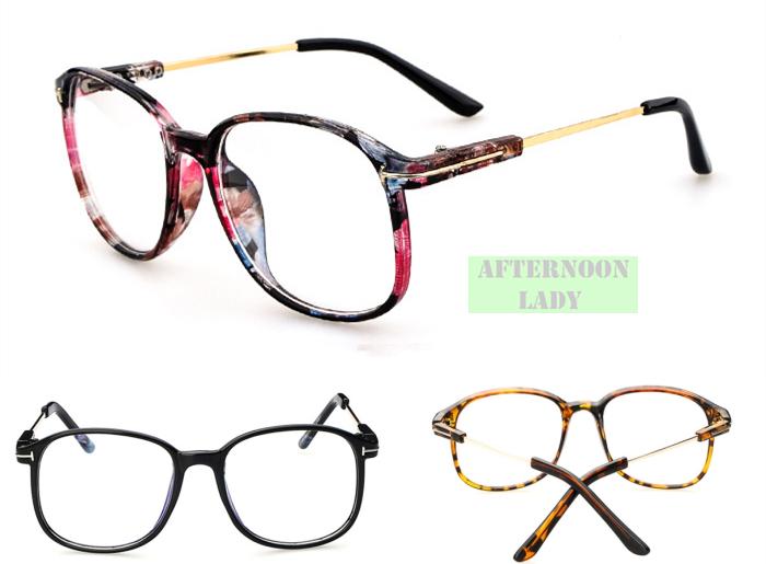 11 color 2015 New Fashion Men Women Unisex eyewear Metal Leg Big Square Frame Rim computer Vintage eyeglasses Brand Designer(China (Mainland))