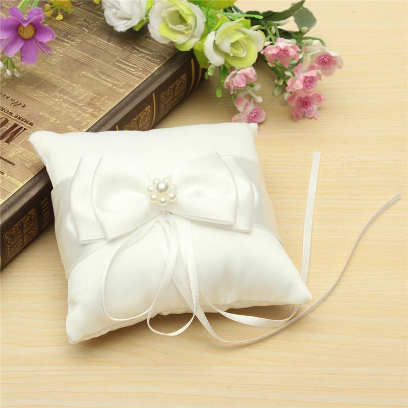 Best Price Wedding Decoration Beautiful White Double Bow Ribbon Pearls Romantic Wedding Ring Pillow Wedding Pillow Cushion(China (Mainland))