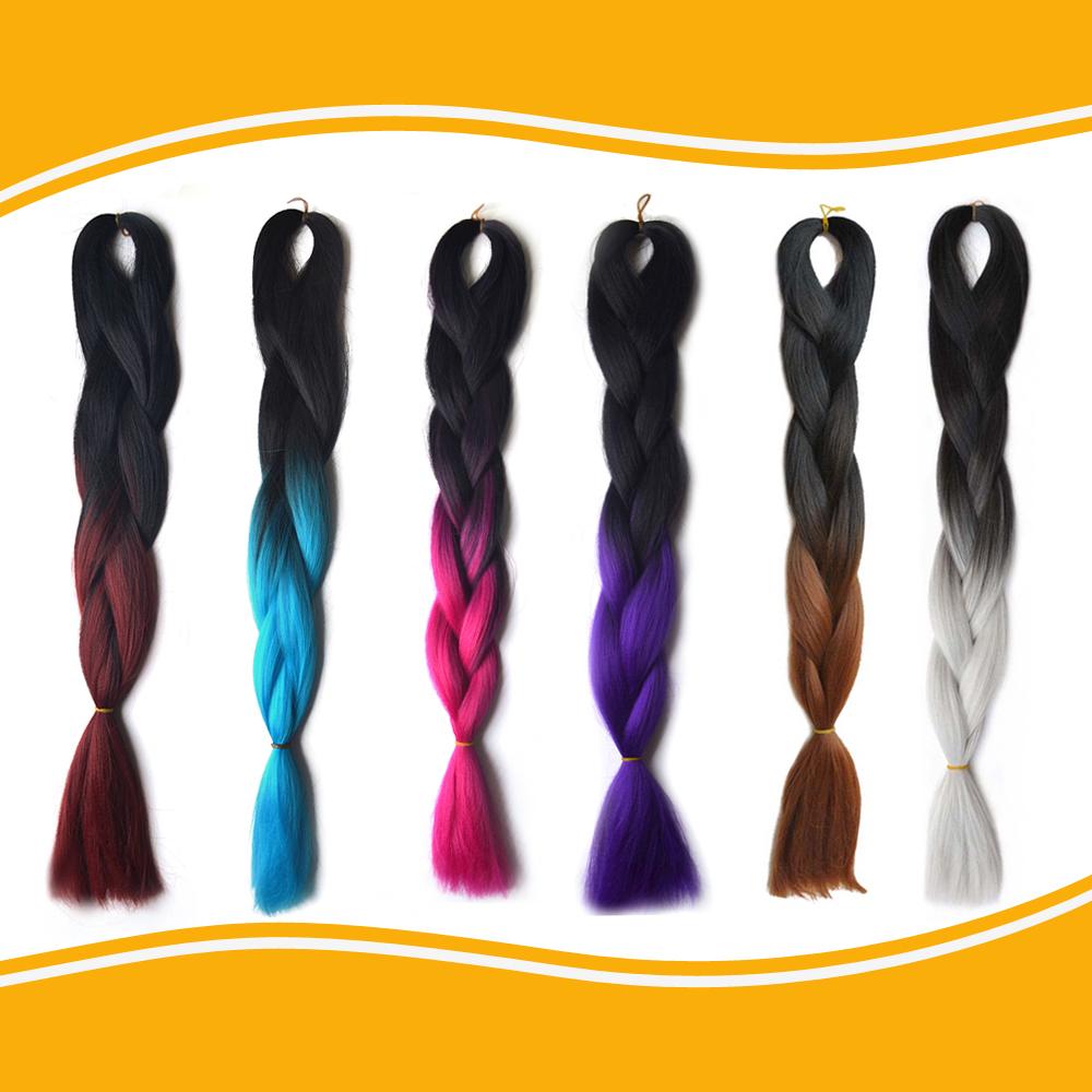 (1 Piece!!)Ombre xpression kanekalon jumbo braiding hair 24'' 1pc100g synthetic two tone high temperature fiber jumbo braid hair(China (Mainland))