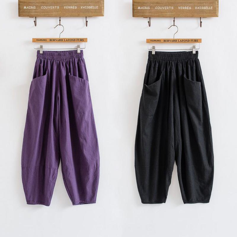 Cotton pants Haren nine radish pants casual summer art loose Elastic Waist Wide Leg Pants(China (Mainland))