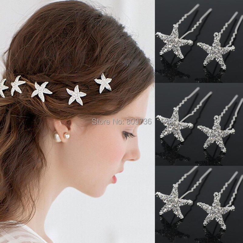 20Pcs Wedding Hairpins Crystal Starfish Rhinestone Hair Pin Clips Women Jewerly Bridal Bridesmaid Hair Accessories(China (Mainland))