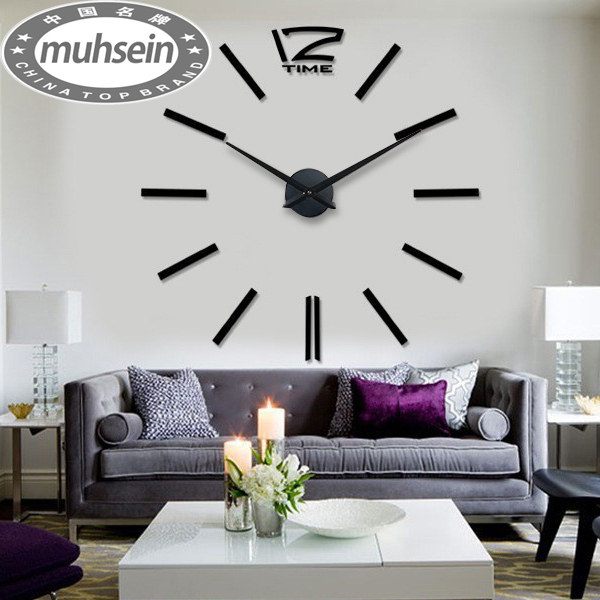 free shipping fashion 3D big size wall clock mirror sticker DIY wall clocks home decoration wall clock meetting room wall clock()