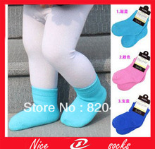12PCS=6 pairs Thickening thermal kid's socks children socks baby towel loop pile socks cotton 100% cotton socks solid color(China (Mainland))