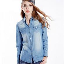 2016 summer fashion women slim fit lapel pure cotton cowboy long sleeve shirt/Women fall high-grade leisure denim shirt S-XL(China (Mainland))