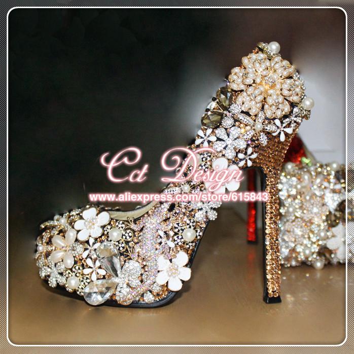 Handmade Free Shipping Fashion Style Women Sexy High Heels Pumps champagne rhinestones wedding shoes luxury crystal bridal shoes<br><br>Aliexpress