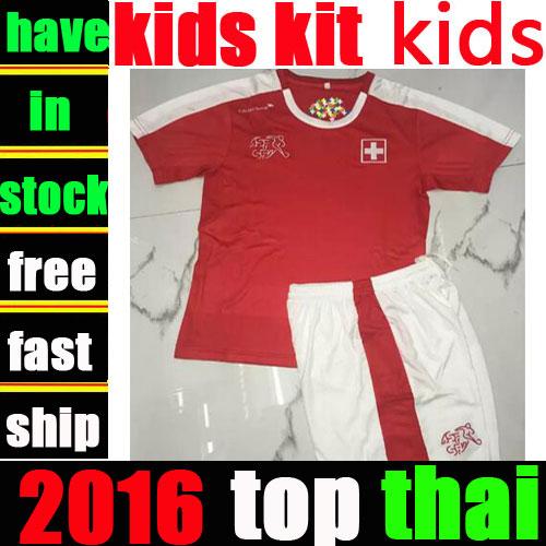 Switzerland kids kit best thai soccer jerseys 16 17 Euro Cup children football shirts 2017 boys camisa de futebol uniforms(China (Mainland))