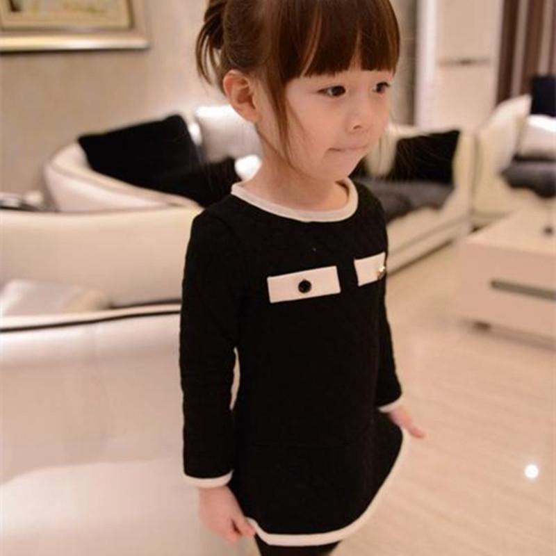 100-150 Princess Girl Dresses Long sleeve New Spring 2014 Teenage Girls Dress for Party Elegant Children Kids Dress White Black(China (Mainland))
