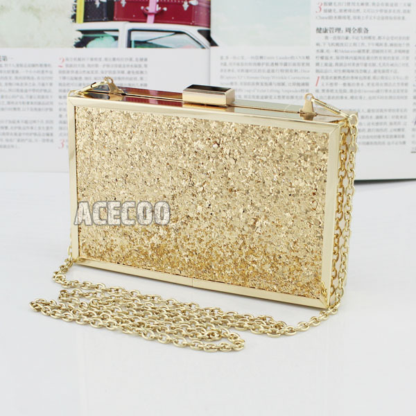 Fashion Womens Glitter Gold Mini Clutch Luxury Shimmer Evening Bag Girls Purse Handbag COCKTAIL Party - Acecoo Trading Co., Ltd. store