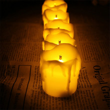 Set of 6 Flameless Candles With Timer, Yellow Flicker Battery Operated Votive Candles,Timer Tealights For Church Decoration(China (Mainland))