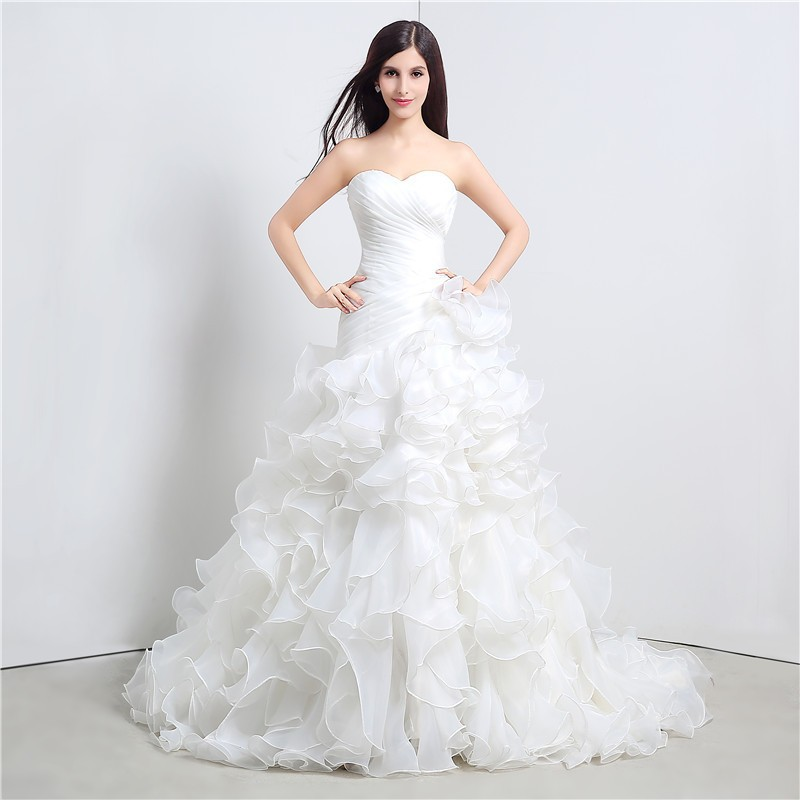 stock mermaid wedding dresses sweetheart cascading ruffles With cascading ruffles wedding dress
