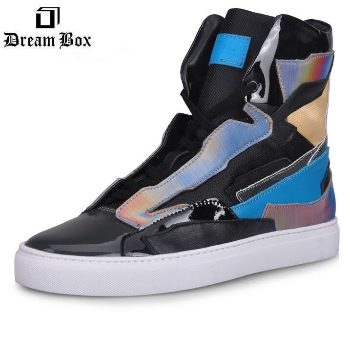 Autumn and winter fashion leather shoes brand rainbow laser high forceful move picking leather men shoes casual leather<br><br>Aliexpress