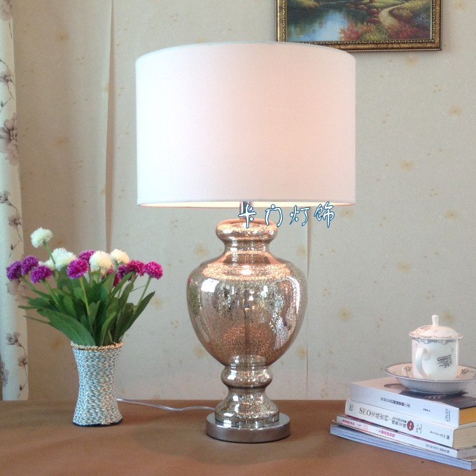Free Shipping European American Spot Silver Trophy Glass Table Lamp Model Room Modern Living