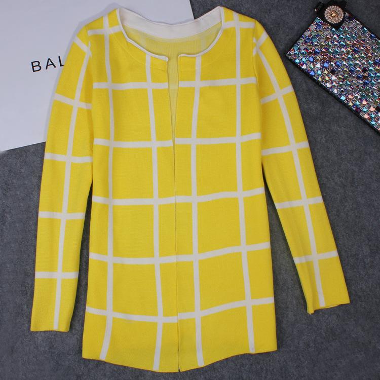 Women Cardigan European Station Spring Checkered Sweater Slim Large Women Long Sweater Cardigan Plus Size Loose Sweater DM2098(China (Mainland))