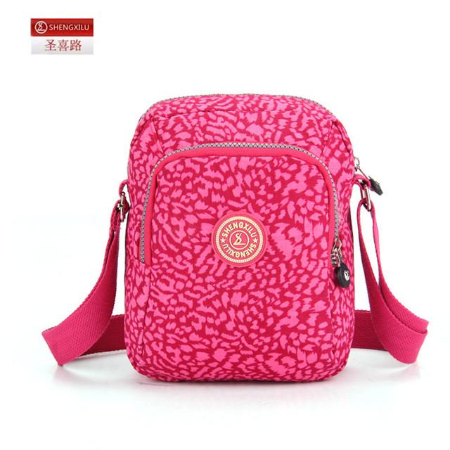 Shengxilu женщин сумки на ремне нейлон свободного покроя розовый леопард марка женский ...