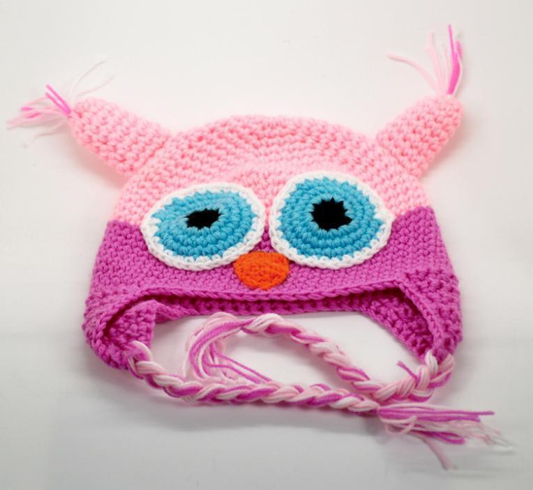 1PC Cute Owl Ear Flap Handmade Knit Crochet Baby Beanie Hat Cap 20cmx14cm E00140(China (Mainland))