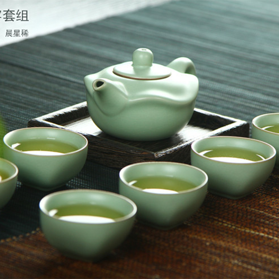 Ruyao lotus tea set chinese dehua pottery tea set asian Green tea pot set
