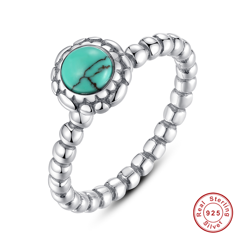 Birthday Blooms Ring, December, Turquoise Ring 100% Fine 925 Sterling Silver Compatible with Pandora Jewelry A7162(China (Mainland))