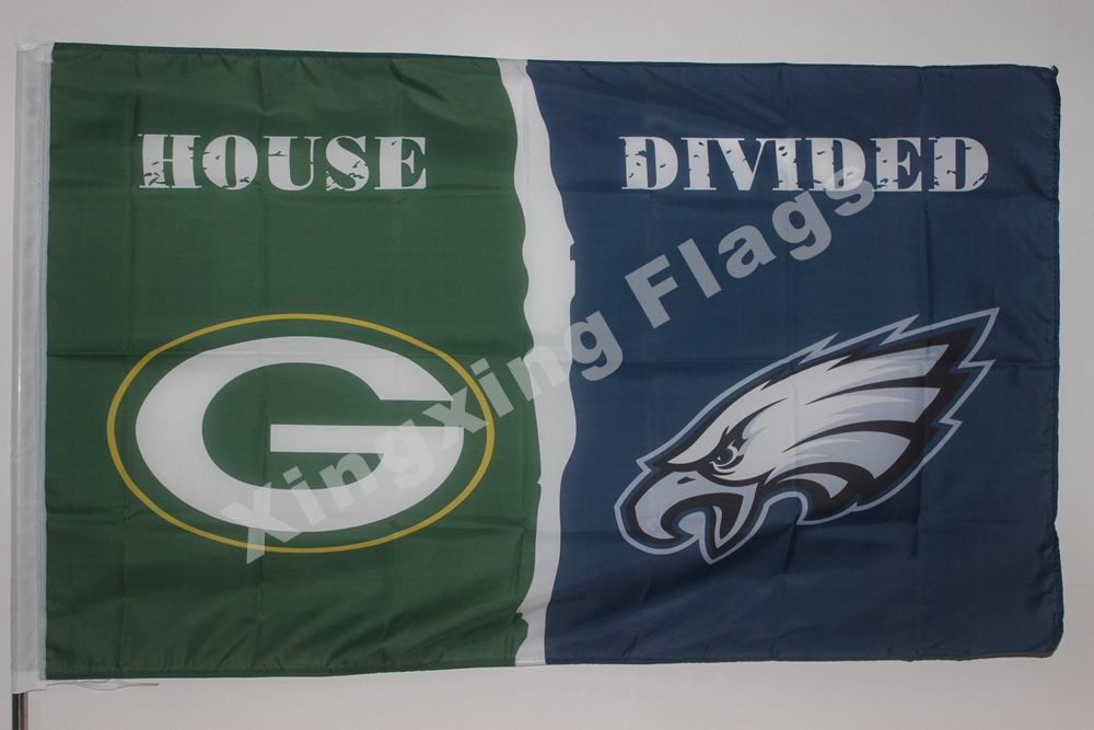 Green Bay Packers Philadelphia Eagles House Divided Flag 3ft X 5ft Polyester NFL Banner Size No.4 144*96cm Custom Flag(China (Mainland))