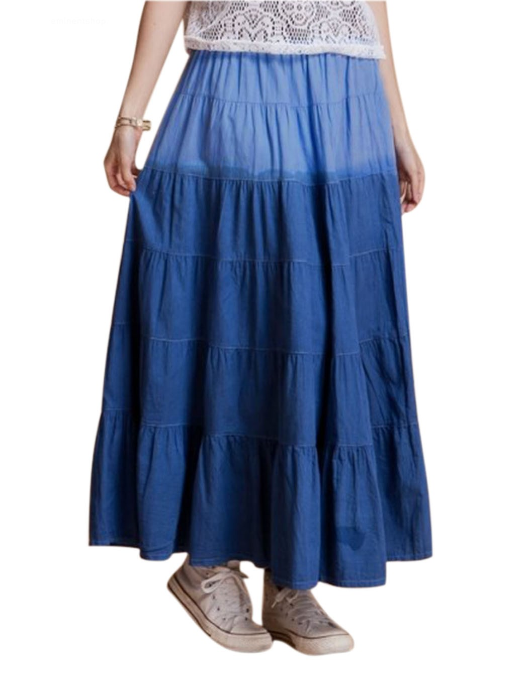 Elastic Waist Full Long Maxi Skirt Pleated Skirts Womenu0026#39;S Clothes Casual Skirt New Arrival ...