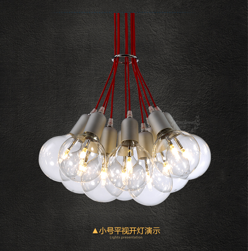 New Arrivals LED Glass Chandelier With Red Rope European Modern Simple Chandelier With LED Beads 02132(China (Mainland))