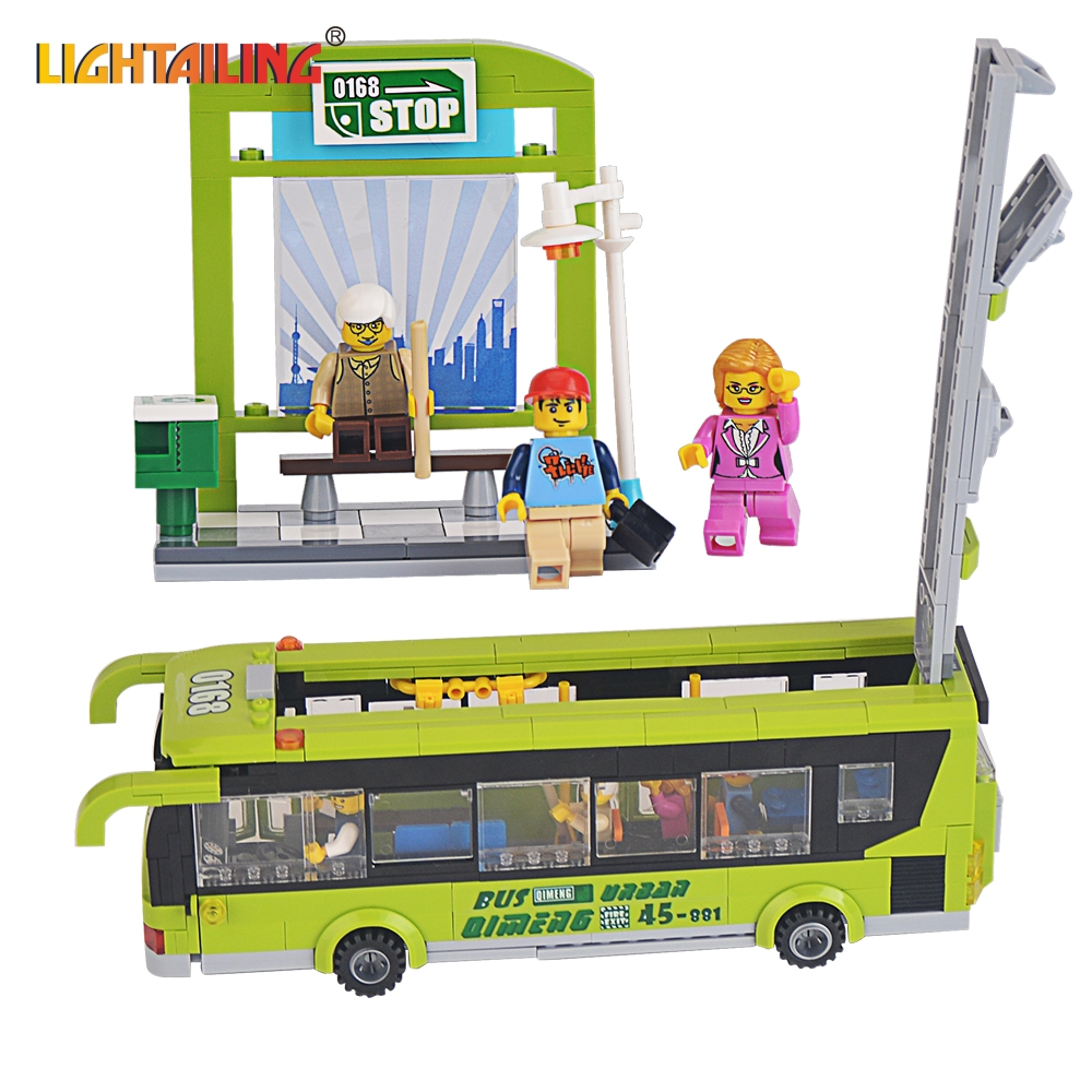 ENLIGHTEN Brand 1121 Toy City Green Bus Building Blocks Brick Kid Toys Gift Compatible with Lego(China (Mainland))