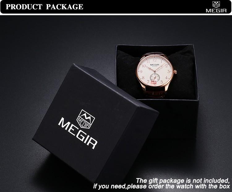 MEGIR 2717 Новый Бренд Сапфир Натуральная Кожа Золотые Часы Мужчины Хронограф Спортивные Водонепроницаемый Бизнес Мода Повседневная Часы