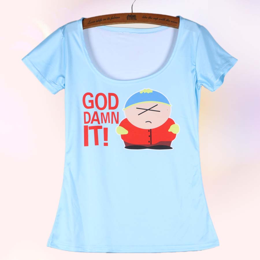 Plus Size High Quality Funny Cartoon South Park T Shirt Printing For Women Scoop Neck Short Sleeve(China (Mainland))